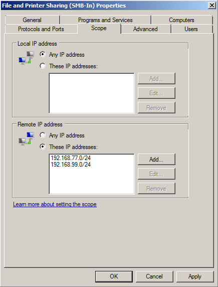 windows task: Sharing files across different subnets - sigmoid